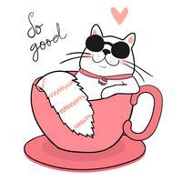 simpatico gatto bianco grasso con occhiali da sole che dorme in una tazza di caffè, disegnare