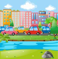 Scena della città con edifici e automobili