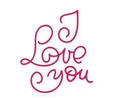 Ti amo monoline calligrafia. Carta di scintillio di calligrafia di San Valentino vettore