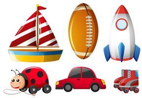 Sei tipi di giocattoli per l'infanzia vettore