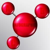 Vector molecole o particelle con legami. Infografica.