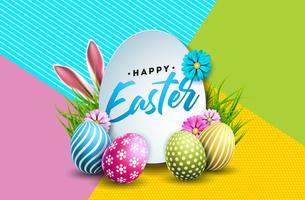 Illustrazione vettoriale di felice vacanza di Pasqua con uova dipinte, orecchie di coniglio e fiore di primavera