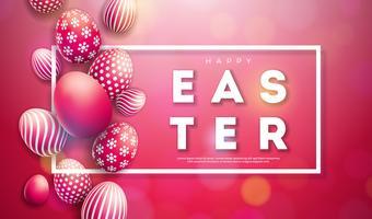 Illustrazione vettoriale di felice vacanza di Pasqua con uova dipinte su sfondo rosso lucido.