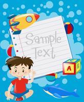 Disegno di carta con sfondo di giocattoli e ragazzo