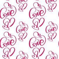 Modello senza cuciture con amore e cuore San Valentino dipinti a mano vettore