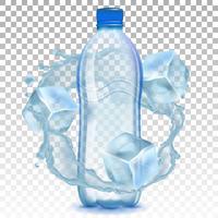 Bottiglia di plastica realistico con una spruzzata di acqua e cubetti di ghiaccio. Illustrazione vettoriale