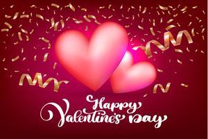 Felice giorno di San Valentino romantico biglietto di auguri con due cuori vettore