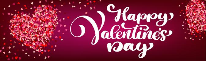 Testo lettering Happy Valentines day banner vettore