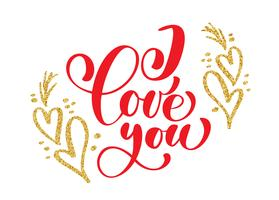 Iscrizione scritta a mano ti amo sullo sfondo del cuore d'oro vettore