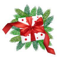 Contenitore di regalo della maglia di realismo di vettore di Natale con un arco rosso
