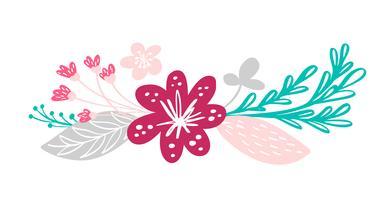 bouquet di fiori ed elementi floreali isolati su sfondo bianco in stile scandinavo. Illustrazione vettoriale disegnato a mano