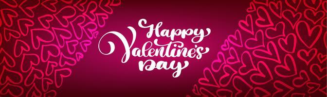 Testo lettering Happy Valentines day banner. Cuori su uno sfondo rosso vettore
