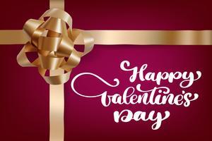 Cartolina d'auguri romantica felice di giorno di biglietti di S. Valentino con un nastro realistico dell'oro del contenitore di regalo vettore
