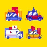Insieme di clipart di trasporto di auto vari vettore