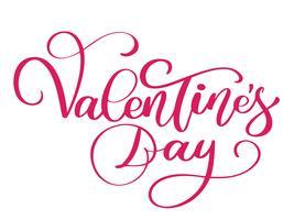 Manifesto di tipografia di felice giorno di San Valentino con testo scritto a mano di calligrafia vettore