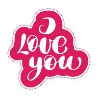 Ti amo cartolina. Frase per San Valentino vettore