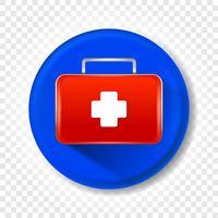 Un kit di pronto soccorso medico realistico. Illustrazione vettoriale rotonda.