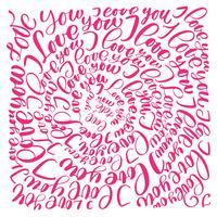Ti amo. Lettere disegnate a mano di calligrafia del cerchio del testo del testo di giorno di biglietti di S. Valentino di vettore