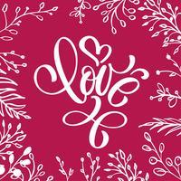 Con amore lettering a forma di cuore vettore