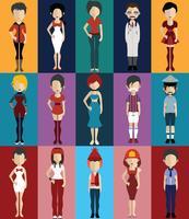 Avatar di persone con variazioni di corpo e busto vettore
