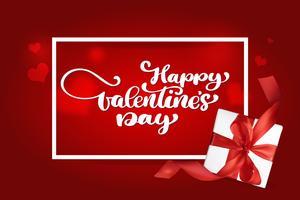 Felice giorno di San Valentino romantico biglietto di auguri con un regalo realistico vettore