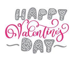 Felice poster di tipografia di San Valentino con scritte a mano vettore