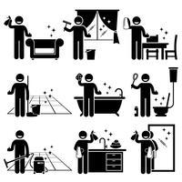 Uomo che lava e pulisce il sofà della casa, le finestre, i mobili in legno, il pavimento, la vasca da bagno, il water, la cucina e lo specchio a casa. vettore