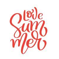 Illusrtation disegnato a mano di logo di vettore di iscrizione di amore di estate