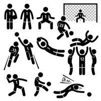 Icone del pittogramma del bastone di calcio di calcio di azione di azioni del portiere.