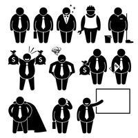 Icone grasse del pittogramma del bastone di Work Man Worker dell'uomo d'affari grasso. vettore