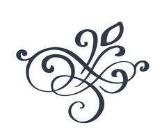 Ricciolo ornato fiorire decorazione per stile di calligrafia inchiostro penna a punta. La penna d'oca fiorisce. Per la progettazione grafica di calligrafia, cartolina, menu, invito a nozze, stile romantico vettore