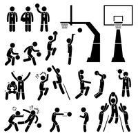 L'azione del giocatore di pallacanestro posa le icone del pittogramma di figura del bastone. vettore