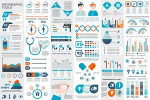 Modello di progettazione di vettore di elementi di infografica medica visualizzazione dati