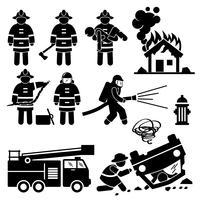 Vigile del fuoco vigile del fuoco di salvataggio figura stilizzata pittogramma icone. vettore