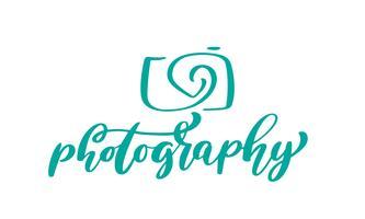testo di fotografia di iscrizione calligrafica dell'iscrizione del modello di vettore dell'icona di logo della macchina fotografica isolato su fondo bianco