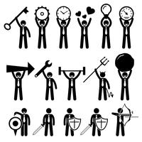 Uomo d'affari uomo d'affari utilizzando vari oggetti figura stilizzata pittogramma icone.