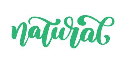 Calligpaphy disegnato a mano dell'icona naturale ha isolato l'illustrazione di vettore. Dieta sana e stile di vita simbolo vegano cibo. distintivo di schizzo a mano. lettering Logo per menu ristorante vegetariano, caffetteria, mercato agricolo