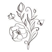 fiori moderni disegno e schizzo floreale con linea-arte isolato su sfondo bianco vettore