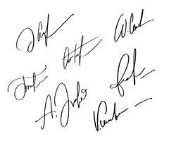 Firma manuale per documenti su sfondo bianco. Illustrazione disegnata a mano EPS10 di vettore dell'iscrizione di calligrafia