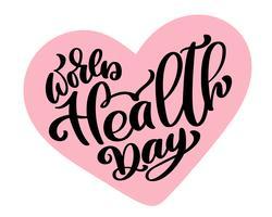 Illustrazione vettoriale World Heart Day lettering quote. Testo d'epoca, frase scritta. Isolato su sfondo bianco