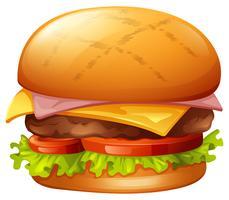 Hamburger di carne su bianco