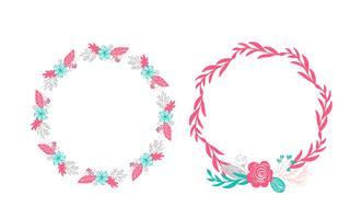 due fiori bouquet ghirlanda floreale vettore