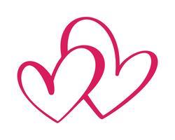 Cuore due segno d'amore. Icona su sfondo bianco. Simbolo romantico legato, partecipazione, passione e matrimonio. Modello per maglietta, carta, poster. Design piatto elemento del giorno di San Valentino. Illustrazione vettoriale