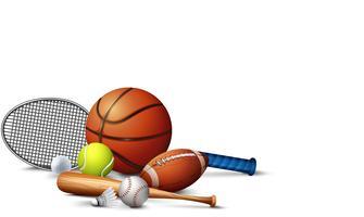 Molte attrezzature sportive sul pavimento vettore