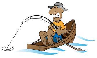 Uomo del fumetto che pesca nell'illustrazione di vettore della barca