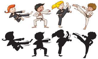 Set di bambini di karate vettore