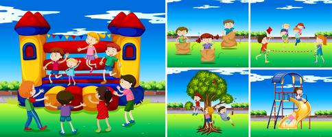 Scene con bambini nel parco giochi vettore