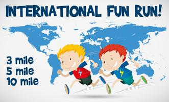 Cartellone internazionale di corsa divertente con i corridori