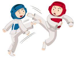 Due uomini che fanno taekwondo