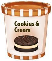 Biscotti e crema di gelato in tazza vettore